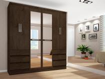 Guarda-roupa Casal 6 Portas 6 Gavetas Araplac - 217729-77 com Espelho