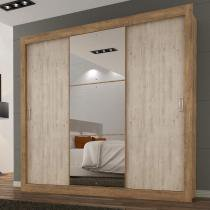 Guarda Roupa Casal com Espelho 3 Portas 3 Gavetas Flex Color Smart Maxel Ipê Tex/Vanilla Tex -