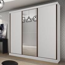 Guarda Roupa Casal com Espelho 3 Portas 4 Gavetas Lisboa Bianchi Móveis Branco -