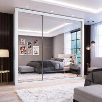 Guarda Roupa Casal com Espelho 3 Portas de Correr Flórida Siena Móveis Branco -