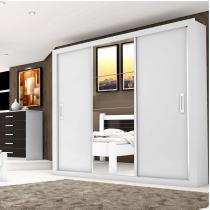 Guarda Roupa Casal com Espelho 3 Portas de Correr Lara Siena Móveis Branco - Siena Móveis