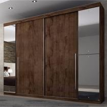 Guarda Roupa Casal com Espelho 4 Portas Plenus Móveis Novo Horizonte Canela - Novo Horizonte