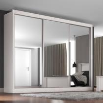 Guarda Roupa Casal Espelhado 3 Portas Napoli Móveis Europa Branco -