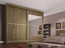Guarda-roupa Casal MDF 2 Portas 4 Gavetas - Made Marcs Ipanema com Espelho