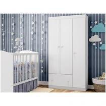 Guarda-roupa Infantil 3 Portas 1 Gavetas - Móveis Estrela Fantasy Baby Clean