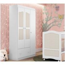 Guarda-roupa Infantil 3 Portas 1 Gavetas - Móveis Estrela Fantasy Baby Treliça