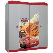 Guarda-roupa Infantil 4 Portas 2 Gavetas - Pura Magia Disney Carros Star