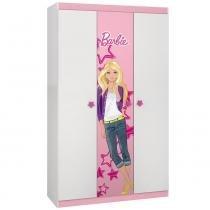 Guarda Roupa Infantil Barbie Happy com 3 portas Branco/Rosa - Pura Magia - Pura Magia