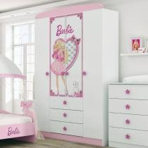 Guarda Roupa Infantil Barbie Star com 4 Portas 3 Gavetas - Pura Magia - Pura Magia