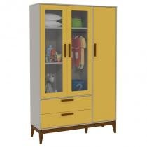 Guarda Roupa Infantil Nature Glass 3 Portas Amarelo Cinza Eco Wood  Matic - Matic moveis