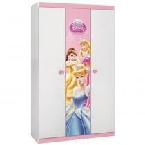 Guarda Roupa Infantil Princesas Disney Happy com 3 portas Branco/Rosa - Pura Magia - Pura Magia
