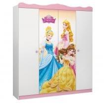 Guarda Roupa Infantil Princesas Disney Star 4 portas e 2 gavetas internas - Pura Magia - Pura Magia