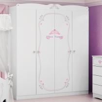 Guarda-Roupa Infantil Princesas Encantada Clean 4 portas - Pura Magia - Pura Magia