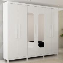 Guarda Roupa Infinity 6 Portas com Espelho Branco - Gelius Móveis - Branco - Gelius