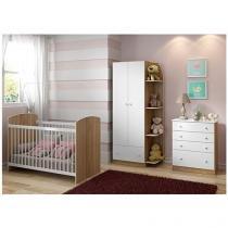 Guarda-Roupa para Bebê 2 Portas 1 Gaveta - Multimóveis Confete 2457866 + Berço + Cômoda
