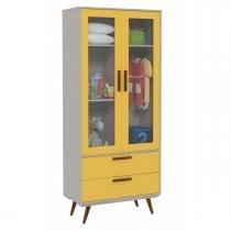 Guarda Roupa Retrô Glass 2 Portas Cinza com Amarelo e Eco Wood - Matic Móveis - Matic Móveis