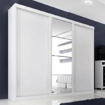 Guarda Roupa Servilha 3 portas c/ espelho  Branco - Branco - Casa