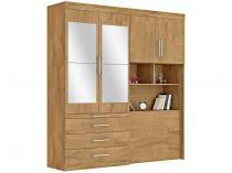 Guarda-roupa Solteiro de Canto com Espelho - 4 Portas 3 Gavetas com Escrivaninha Móveis Europa