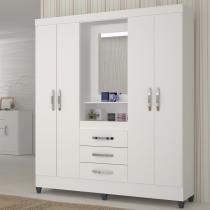 Guarda roupas casal 4 portas capri - branco-branco - moval - Moval