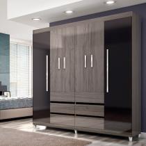Guarda roupas casal 6 portas 6 gavetas sara ii cinza grigio-preto - irmol -