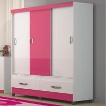 Guarda roupas casal portas de correr suécia - branco-rosa - moval - Moval