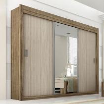 Guarda Roupas Panan Dune Premium 3 Portas com Espelho - Rovere com Vanila - Panan