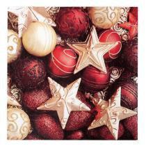 Guardanapo De Papel Mesa Natal Estrelas Bolas Vinho 20 Pçs Dourado - Cromus