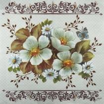 Guardanapo Decoupage Rosas Silvestres Brancas 2 unidades GBM036 - Toke e Crie by Mamiko -
