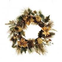 Guirlanda De Natal Porta Decoração 60 Cm Dourado - Cromus