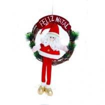 Guirlanda Enfeite Pequim Noel Feliz Natal Vermelho Ouro 40 Cm - Cromus
