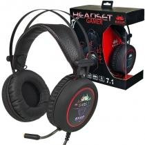 Headset Gamer 7.1 Deep Bass Fone Ouvido Microfone Usb P2 Led Pc Ps4 Celular Jogos Knup KP-401 Preto -