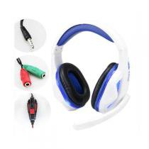 Headset Gamer Led Ps4 Xbox One Branco Com Azul KP-396 - Knup