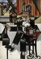 Homem no Café - Gris  Tela Pequena Para Quadro - Santhatela