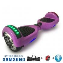 """Hoverboard 6.5"""" Lilás Bluetooth LED lateral e frontal  - Bateria Samsung - Smart balance wheel"""