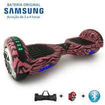 """Hoverboard 6.5"""" Pink Zebra Bluetooth LEDs - Bateria de Longa Duração Samsung - Smart balance wheel"""