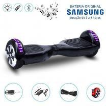 """Hoverboard 6.5"""" Preto LEDs Bluetooth com Controle - Bateria Samsung - Smart balance wheel"""