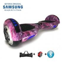 """Hoverboard 6.5"""" Purple Space Bluetooth LED lateral e frontal - Bateria Samsung - Smart balance wheel"""