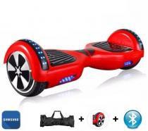 "Hoverboard 6.5"" Vermelho Bluetooth LED lateral e frontal  - Bateria Samsung - Smart balance wheel"