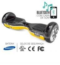 Hoverboard balance wheel amarelo e carbono two dogs -