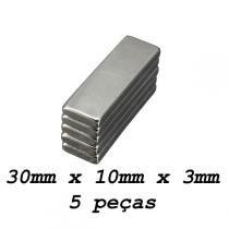 Imã De Neodímio / Super Forte / 30mm X 10mm X 3mm  5 Peças - Fácil negócio importação