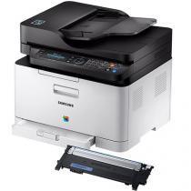 Impressora Multifuncional Samsung Xpress C480 - Laser Wi-fi + Toner Samsung Ciano CLT-C404S