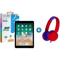 "iPad 6 Apple 32GB Cinza Espacial Tela 9.7"" Retina - Proc. Chip A10 + Headphone/Fone de Ouvido + Capa"