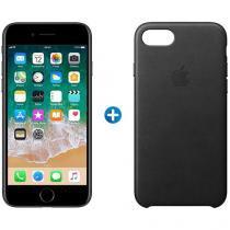 "iPhone 7 Apple 128GB Preto Matte 4G Tela 4.7"" - Retina Câm.12MP +Selfie + Capa Protetora de Couro"