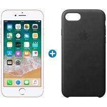"""iPhone 7 Apple 32GB Ouro Rosa 4G Tela 4.7"""" Retina - Câm. 12MP + Selfie  + Capa Protetora de Couro"""