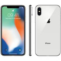 "iPhone X Apple 64GB Prata 4G Tela 5,8"" Retina  - Câmera 12MP + Selfie 7MP iOS 11 Proc. Chip A11"