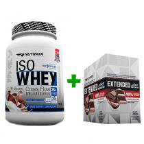 Iso Whey 900g Morango + Extended Whey Protein Bar - Display 12 unids - Chocolate Nutrata - Nutrata