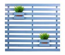 Jardim vertical 90 x 80 madeira maciça azul 2 cachepôs pequenos - My shop brasil