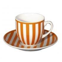 Jogo 12 peças café porcelana laranja 90ml geo mix  match - lhermitage - Unica -