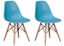 Jogo 2 cadeiras eiffel sala jantar cozinha escritório azul claro - Rivatti