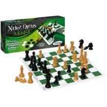 Jogo 2 em 1 Xadrez e Damas Marter - Xalingo